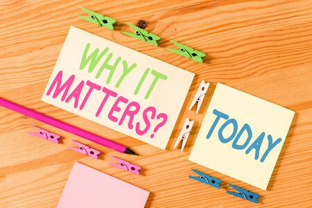 Handwriting text Why It Matters Question. Conceptual photo most important thing to be done when involved in situation Colored clothespin papers empty reminder wooden floor background office Stock fotó - 130025588
