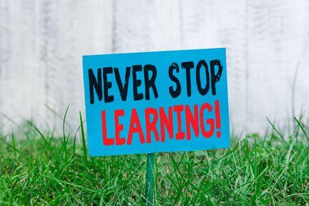 Escritura de texto Never Stop Learning. Foto conceptual seguir estudiando la obtención de nuevos conocimientos o materiales Papel vacío normal unido a un palo y colocado en la tierra de hierba verde