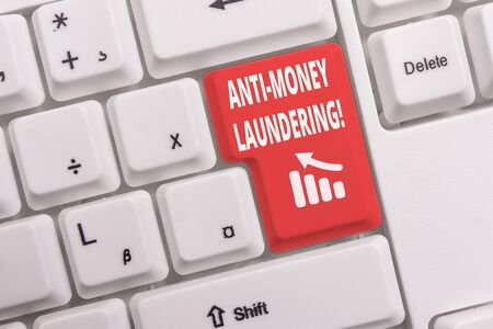 Text sign showing Anti Money Laundering. Business photo text regulations stop generating income through illegal actions White pc keyboard with empty note paper above white background key copy space Imagens