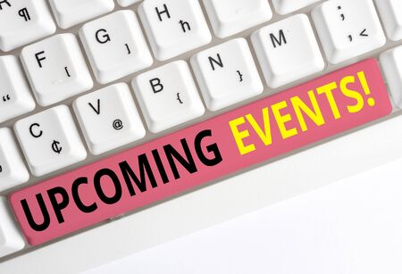 Handwriting text Upcoming Events. Conceptual photo thing that will happens or takes place soon planned occasion White pc keyboard with empty note paper above white background key copy space