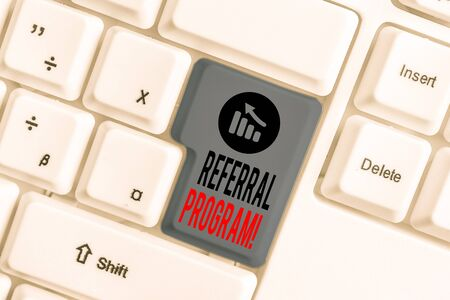 Handwriting text Referral Program. Conceptual photo internal recruitment method employed by organizations White pc keyboard with empty note paper above white background key copy space