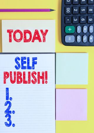 Writing note showing Self Publish. Business concept for writer publish piece of ones work independently at own expense Colored empty papers with copy space on the yellow background table