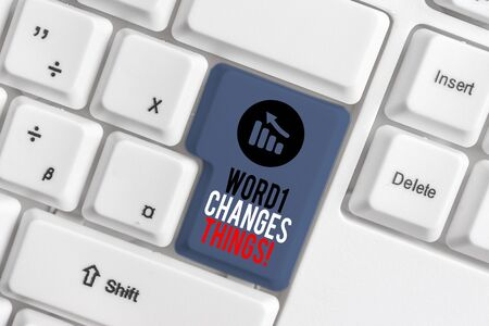 Handwriting text Action Changes Things. Conceptual photo start doing something against problem resolve or achieve it White pc keyboard with empty note paper above white background key copy space