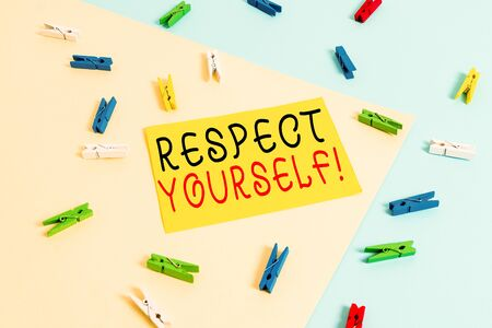 Text sign showing Respect Yourself. Business photo text believing that you good and worthy being treated well Colored clothespin paper empty reminder yellow blue floor background office