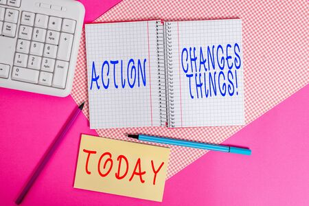 Text sign showing Action Changes Things. Business photo text start doing something against problem resolve or achieve it Writing equipments and computer stuffs placed above colored plain table