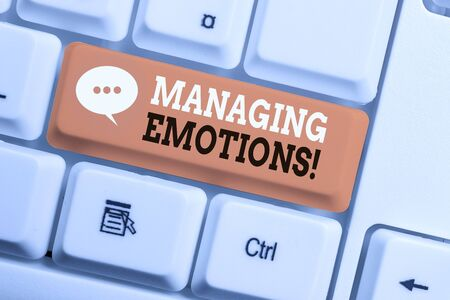Text sign showing Managing Emotions. Business photo showcasing ability be open to feelings and modulate them in oneself White pc keyboard with empty note paper above white background key copy space Reklamní fotografie - 130032981