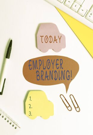 Conceptual hand writing showing Employer Branding. Concept meaning promoting company employer choice to desired target group Red bubble copy space paper on the table with clock