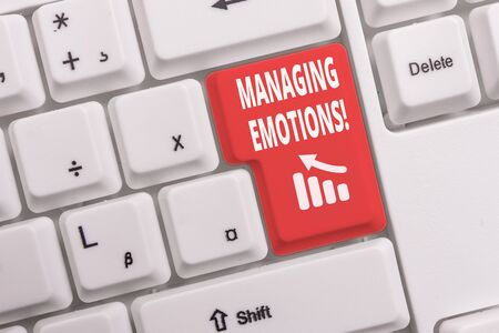 Text sign showing Managing Emotions. Business photo text ability be open to feelings and modulate them in oneself White pc keyboard with empty note paper above white background key copy space Reklamní fotografie