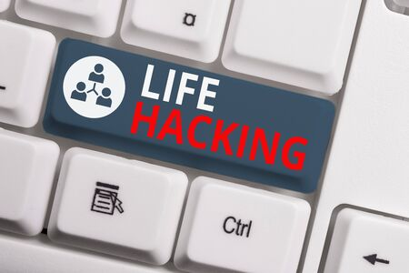 Text sign showing Life Hacking. Business photo showcasing Simple and clever techniques in accomplishing task easily White pc keyboard with empty note paper above white background key copy space