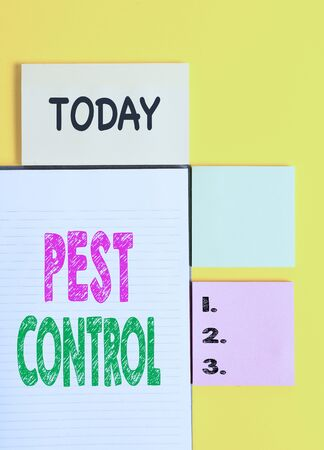 Word writing text Pest Control. Business photo showcasing Killing destructive insects that attacks crops and livestock Colored empty papers with copy space on the yellow background table Archivio Fotografico - 130044298
