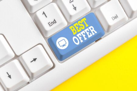 Text sign showing Best Offer. Business photo showcasing To convince someone by rendering all the greatness you can give White pc keyboard with empty note paper above white background key copy space