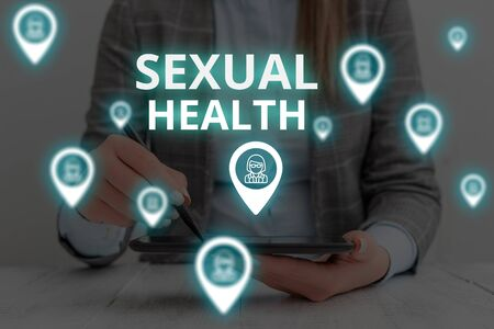 Text sign showing Sexual Health. Business photo text Healthier body Satisfying Sexual life Positive relationships Woman wear formal work suit presenting presentation using smart device