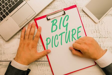 Conceptual hand writing showing Big Picture. Concept meaning most important facts about certain situation and its effects Фото со стока