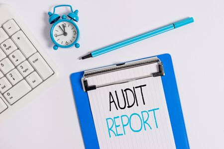 Conceptual hand writing showing Audit Report. Concept meaning An appraisal of complete financial status of a business Assets Flat lay above table with clock pc keyboard and note paper Stock fotó - 131624057