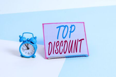Text sign showing Top Discount. Business photo text Best Price Guaranteed Hot Items Crazy Sale Promotions Stock fotó
