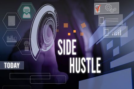 Conceptual hand writing showing Side Hustle. Concept meaning way make some extra cash that allows you flexibility to pursue Woman wear work suit presenting presentation smart device