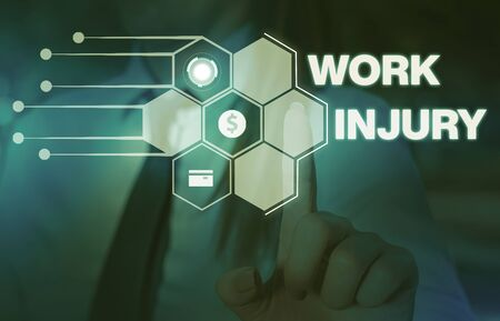 Word writing text Work Injury. Business photo showcasing Accident in job Danger Unsecure conditions Hurt Trauma Woman wear formal work suit presenting presentation using smart device