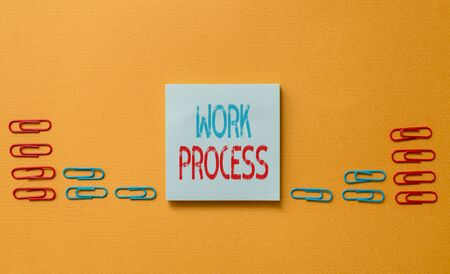 Word writing text Work Process. Business photo showcasing Standard procedures how to handle a particular job rules system Colored blank sticky note clips gathered trendy cool pastel background
