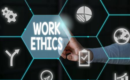 Word writing text Work Ethics. Business photo showcasing A set of values centered on the importance of doing work Male human wear formal work suit presenting presentation using smart device Stok Fotoğraf