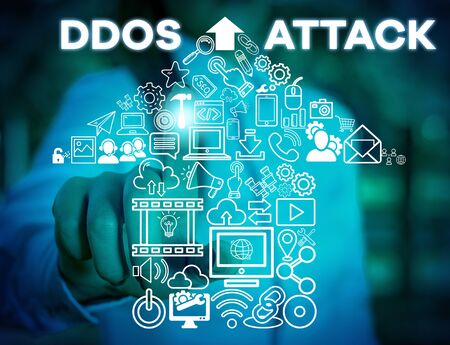 Writing note showing Ddos Attack. Business concept for perpetrator seeks to make network resource unavailable Woman wear formal work suit presenting presentation using smart device