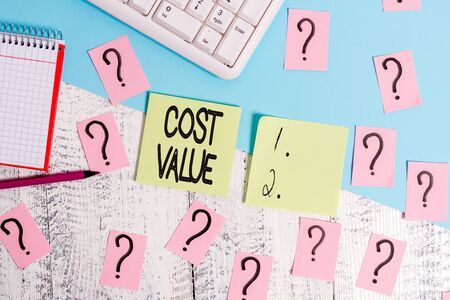 Conceptual hand writing showing Cost Value. Concept meaning The amount that usualy paid for a item you buy or hiring a demonstrating Writing tools and scribbled paper on top of the wooden table