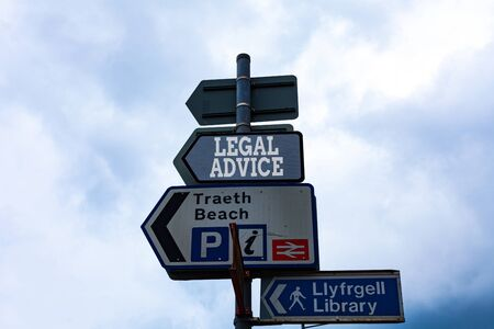 Text sign showing Legal Advice. Business photo text Lawyer opinion about law procedure in a particular situation Empty street signs on the crossroads with blank copy space Stock fotó