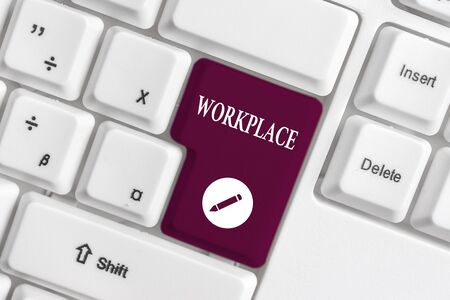 Handwriting text writing Workplace. Conceptual photo Area where you can find busy showing doing their job orders White pc keyboard with empty note paper above white background key copy space