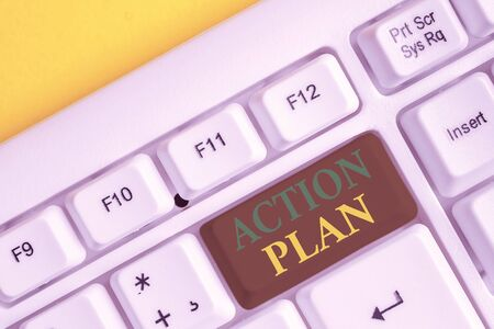 Handwriting text Action Plan. Conceptual photo list of things or schedule to be made thia current year White pc keyboard with empty note paper above white background key copy space Stock fotó