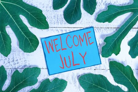 Writing note showing Welcome July. Business concept for Calendar Seventh Month 31days Third Quarter New Season 写真素材