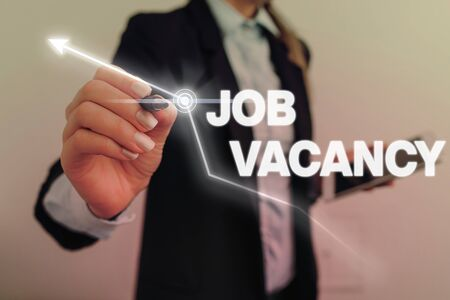 Text sign showing Job Vacancy. Business photo text empty or available paid place in small or big company