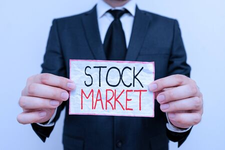 Handwriting text Stock Market. Conceptual photo Particular market where stocks and bonds are traded or exhange