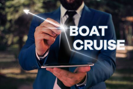 Writing note showing Boat Cruise. Business concept for sail about in area without precise destination with large ship Stock Photo