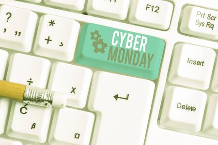 Writing note showing Cyber Monday. Business concept for Marketing term for Monday after thanksgiving holiday in the US White pc keyboard with note paper above the white background Stock Photo