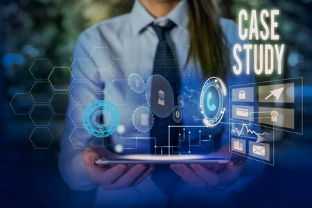 Writing note showing Case Study. Business concept for A subject matter to be discussed and related to the topic Woman wear formal work suit presenting presentation using smart device