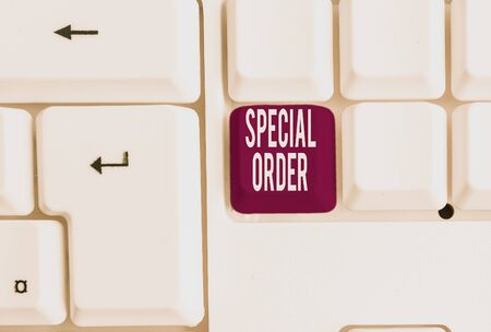 Writing note showing Special Order. Business concept for Specific Item Requested a Routine Memo by Military Headquarters White pc keyboard with note paper above the white background Reklamní fotografie