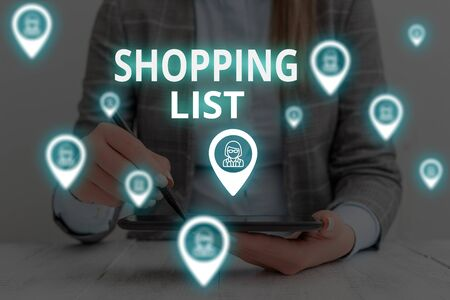 Text sign showing Shopping List. Business photo text Discipline approach to shopping Basic Items to Buy Woman wear formal work suit presenting presentation using smart device