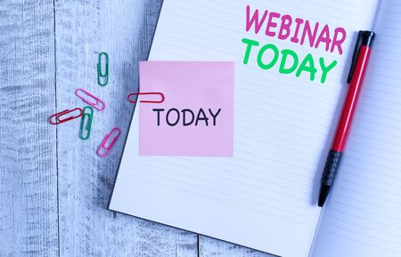 Handwriting text Webinar Today. Conceptual photo live online educational presentation on different location Thick pages notebook stationary placed above classic look wooden backdrop