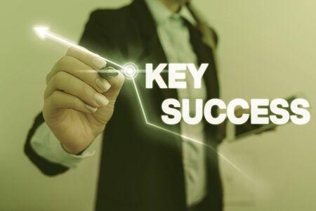 Text sign showing Key Success. Business photo text generally three to five areas that company may focus on