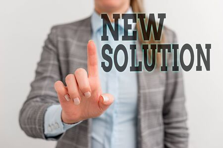Word writing text New Solution. Business photo showcasing Modern Innovation Latest effective approach to a problem Digital business concept with business woman