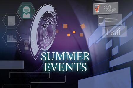 Writing note showing Summer Events. Business concept for Celebration Events that takes place during summertime Male wear formal suit presenting presentation smart device Stock Photo
