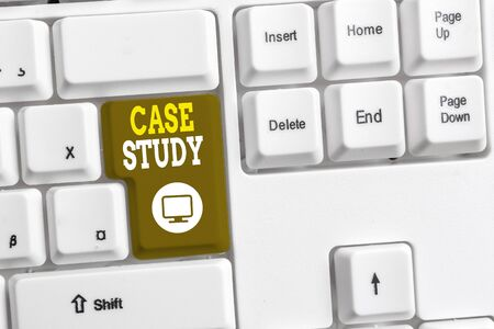 Text sign showing Case Study. Business photo text A subject matter to be discussed and related to the topic White pc keyboard with empty note paper above white background key copy space