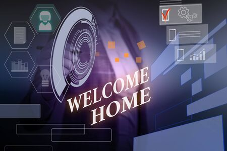 Word writing text Welcome Home. Business photo showcasing Expression Greetings New Owners Domicile Doormat Entry Woman wear formal work suit presenting presentation using smart device
