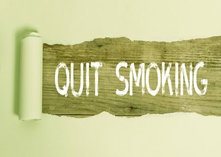 Text sign showing Quit Smoking. Business photo text Discontinuing or stopping the use of tobacco addiction
