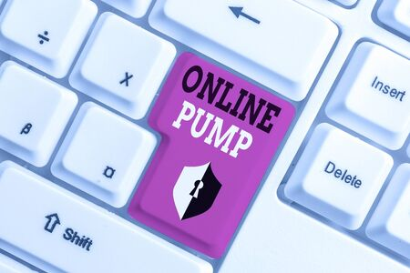 Text sign showing Online Pump. Business photo text device which moves liquid from lower level to higher one White pc keyboard with empty note paper above white background key copy space Imagens