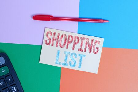 Writing note showing Shopping List. Business concept for Discipline approach to shopping Basic Items to Buy Office appliance square desk study supplies paper sticker 版權商用圖片