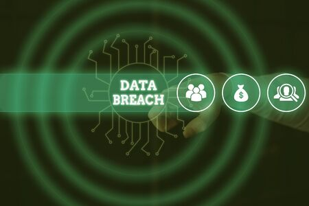 Conceptual hand writing showing Data Breach. Concept meaning security incident where sensitive protected information copied Male wear formal suit presenting presentation smart device
