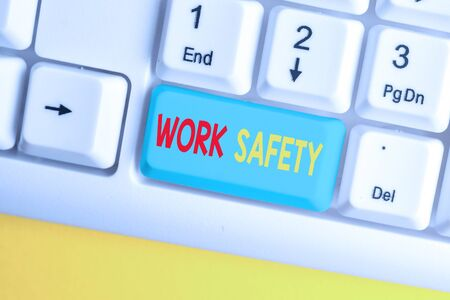 Word writing text Work Safety. Business photo showcasing Policies and control in place according to government standard White pc keyboard with empty note paper above white background key copy space