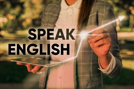 Word writing text Speak English. Business photo showcasing Study another Foreign Language Online Verbal Courses Stok Fotoğraf