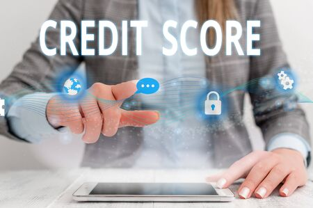 Writing note showing Credit Score. Business concept for Represent the creditworthiness of an individual Lenders rating Female human wear formal work suit presenting smart device Stok Fotoğraf