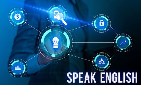 Conceptual hand writing showing Speak English. Concept meaning Study another Foreign Language Online Verbal Courses Woman wear work suit presenting presentation smart device Stok Fotoğraf